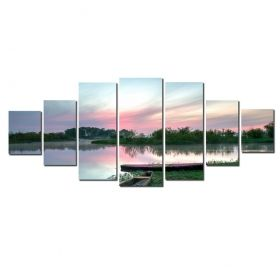 Canvas Wall Art Pink sunset on the lake, Glowing in the dark, Set of 7, 100 x 240 cm (1 panel 40 x 100 cm, 2 panels 35 x 90 cm, 2 panels 30 x 60 cm, 2 panels 30 x 40 cm)