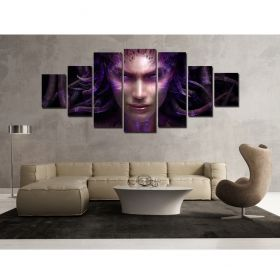 Canvas Wall Art Femme Fatale, Glowing in the dark, Set of 7, 100 x 240 cm (1 panel 40 x 100 cm, 2 panels 35 x 90 cm, 2 panels 30 x 60 cm, 2 panels 30 x 40 cm)