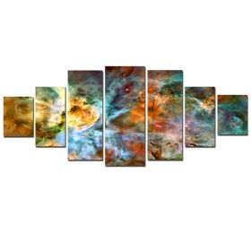Canvas Wall Art Nebula from space, Glowing in the dark, Set of 7, 100 x 240 cm (1 panel 40 x 100 cm, 2 panels 35 x 90 cm, 2 panels 30 x 60 cm, 2 panels 30 x 40 cm)