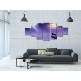 Canvas Wall Art Prowd Lion, Glowing in the dark, Set of 7, 100 x 240 cm (1 panel 40 x 100 cm, 2 panels 35 x 90 cm, 2 panels 30 x 60 cm, 2 panels 30 x 40 cm)