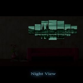 Canvas Wall Art Urban Panorama, Glowing in the dark, Set of 7, 100 x 240 cm (1 panel 40 x 100 cm, 2 panels 35 x 90 cm, 2 panels 30 x 60 cm, 2 panels 30 x 40 cm)