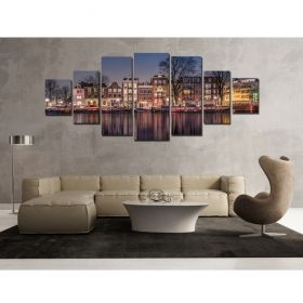 Canvas Wall Art Amsterdam, Glowing in the dark, Set of 7, 100 x 240 cm (1 panel 40 x 100 cm, 2 panels 35 x 90 cm, 2 panels 30 x 60 cm, 2 panels 30 x 40 cm)