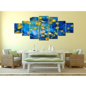 Canvas Wall Art Yellow flowers, Glowing in the dark, Set of 7, 100 x 240 cm (1 panel 40 x 100 cm, 2 panels 35 x 90 cm, 2 panels 30 x 60 cm, 2 panels 30 x 40 cm)