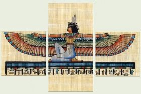 Canvas Wall Art Egyptian Goddesses, Glowing in the dark, Set of 3, 120 x 180 cm (1 panel 60 x 120 cm, 2 panels 60 x 60 cm)