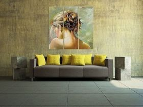 Canvas Wall Art Back of a woman, Glowing in the dark, Set of 3, 120 x 120 cm (3 panels 40 x 120 cm)