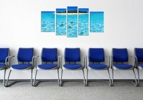 Canvas Wall Art Island, Glowing in the dark, Set of 5, 90 x 180 cm (1 panel 30 x 90 cm, 2 panels 30 x 80 cm, 2 panels 40 x 60 cm)