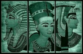 Canvas Wall Art Ancient Egypt, Glowing in the dark, Set of 3, 120 x 180 cm (3 panels 60 x 120 cm)