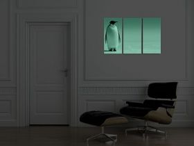 Canvas Wall Art Penguin, Glowing in the dark, Set of 3, 120 x 180 cm (3 panels 60 x 120 cm)