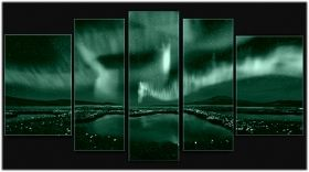 Canvas Wall Art Aurora Borealis, Glowing in the dark, Set of 5, 90 x 180 cm (1 panel 30 x 90 cm, 2 panels 30 x 80 cm, 2 panels 40 x 60 cm)