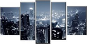Canvas Wall Art Hong Kong, Glowing in the dark, Set of 5, 90 x 180 cm (1 panel 30 x 90 cm, 2 panels 30 x 80 cm, 2 panels 40 x 60 cm)