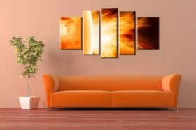 Canvas Wall Art Sun, Glowing in the dark, Set of 5, 90 x 180 cm (1 panel 30 x 90 cm, 2 panels 30 x 80 cm, 2 panels 40 x 60 cm)