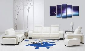 Canvas Wall Art Universe, Glowing in the dark, Set of 5, 90 x 180 cm (1 panel 30 x 90 cm, 2 panels 30 x 80 cm, 2 panels 40 x 60 cm)