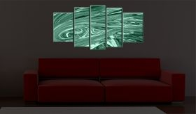 Canvas Wall Art Abstract waves, Glowing in the dark, Set of 5, 90 x 180 cm (1 panel 30 x 90 cm, 2 panels 30 x 80 cm, 2 panels 40 x 60 cm)