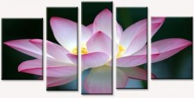 Canvas Wall Art Pink flower, Glowing in the dark, Set of 5, 90 x 180 cm (1 panel 30 x 90 cm, 2 panels 30 x 80 cm, 2 panels 40 x 60 cm)