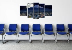 Canvas Wall Art Yokohama, Glowing in the dark, Set of 5, 90 x 180 cm (1 panel 30 x 90 cm, 2 panels 30 x 80 cm, 2 panels 40 x 60 cm)