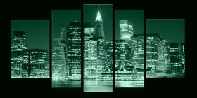 Canvas Wall Art Manhattan, Glowing in the dark, Set of 5, 90 x 180 cm (1 panel 30 x 90 cm, 2 panels 30 x 80 cm, 2 panels 40 x 60 cm)