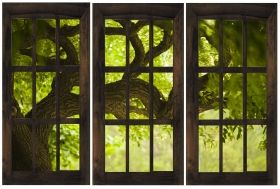 Canvas Wall Art Window to a bright morning, Glowing in the dark, Set of 3, 120 x 180 cm (3 panels 60 x 120 cm)
