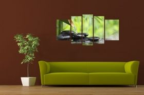 Canvas Wall Art Bamboo Zen, Glowing in the dark, Set of 5, 90 x 180 cm (1 panel 30 x 90 cm, 2 panels 30 x 80 cm, 2 panels 40 x 60 cm)