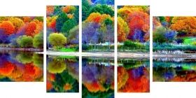 Canvas Wall Art The colors of the forest, Glowing in the dark, Set of 5, 90 x 180 cm (1 panel 30 x 90 cm, 2 panels 30 x 80 cm, 2 panels 40 x 60 cm)