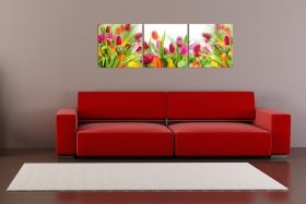 Canvas Wall Art Colorful tulips, Glowing in the dark, Set of 3, 60 x 180 cm (3 panels 60 x 60 cm)