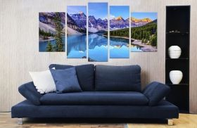 Canvas Wall Art Mountain lake, Glowing in the dark, Set of 5, 90 x 180 cm (1 panel 30 x 90 cm, 2 panels 30 x 80 cm, 2 panels 40 x 60 cm)