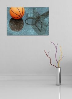 Glass Wall Art Basketball, Glowing in the dark, 60 x 90 cm