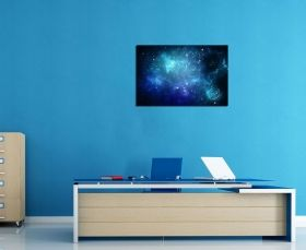 Glass Wall Art The blue galaxy, Glowing in the dark, 60 x 90 cm