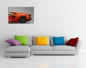 Glass Wall Art Orange car, Glowing in the dark, 60 x 90 cm