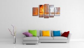 Glass Wall Art The light in the park, Glowing in the dark, Set of 5, 90 x 180 cm (1 panel 30 x 90 cm, 2 panels 30 x 80 cm, 2 panels 40 x 60 cm)