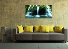 Glass Wall Art Bigar Waterfall, Glowing in the dark, 60 x 120 cm