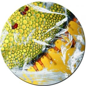 Glass Wall Art Yellowish green, Glowing in the dark, 60 x 60 cm
