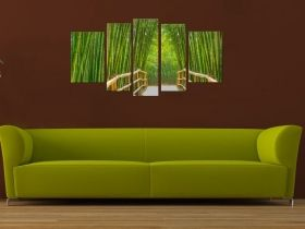 Glass Wall Art Bamboo Alley, Glowing in the dark, Set of 5, 90 x 180 cm (1 panel 30 x 90 cm, 2 panels 30 x 80 cm, 2 panels 40 x 60 cm)