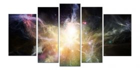 Glass Wall Art Galaxy, Glowing in the dark, Set of 5, 90 x 180 cm (1 panel 30 x 90 cm, 2 panels 30 x 80 cm, 2 panels 40 x 60 cm)