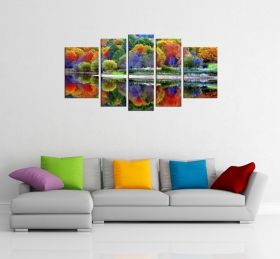 Glass Wall Art The multicolored forest, Glowing in the dark, Set of 5, 90 x 180 cm (1 panel 30 x 90 cm, 2 panels 30 x 80 cm, 2 panels 40 x 60 cm)
