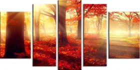 Glass Wall Art Red forest, Glowing in the dark, Set of 5, 90 x 180 cm (1 panel 30 x 90 cm, 2 panels 30 x 80 cm, 2 panels 40 x 60 cm)