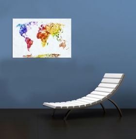 Glass Wall Art The multicolored map, Glowing in the dark, 60 x 120 cm