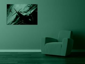 Glass Wall Art The plane in the room, Glowing in the dark, 60 x 90 cm