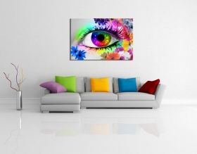 Glass Wall Art The colors of the Eye III by Diana, Glowing in the dark, 60 x 90 cm