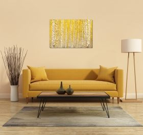 Canvas Wall Art Yellow birches, Glowing in the dark, 80 x 120 cm