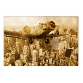 Canvas Wall Art Retro plane, Glowing in the dark, 60 x 90 cm