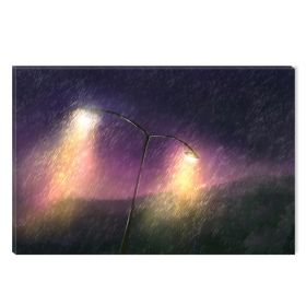 Canvas Wall Art Rain, Glowing in the dark, 60 x 90 cm
