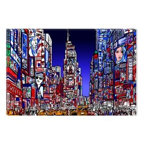 Canvas Wall Art New York , Glowing in the dark, 60 x 90 cm
