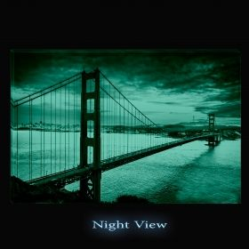 Canvas Wall Art San Francisco, Glowing in the dark, 60 x 90 cm