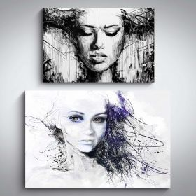 Canvas Wall Art Women Purple Drawing of a Woman and Power Woman Buy one Get Two Bundle Offer