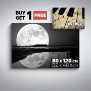 Canvas Wall Art Black and White Romantic Moon and Piano Buy one Get Two Bundle Offer