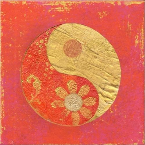 Canvas Wall Art Yin Yang Red, Glowing in the dark, 80 x 80 cm