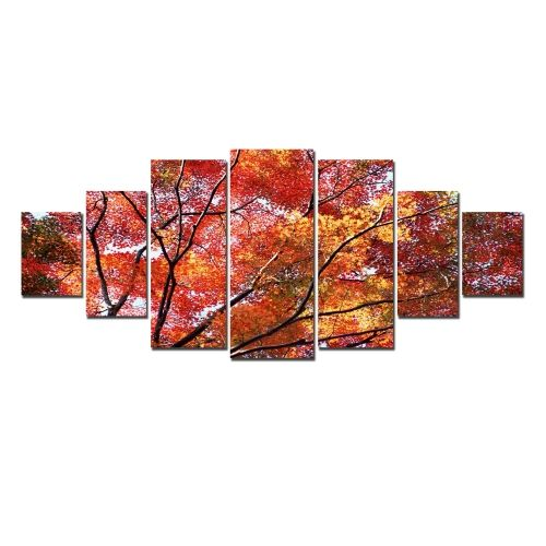 Canvas Wall Art Autumn leaves, Glowing in the dark, Set of 7, 100 x 240 cm (1 panel 40 x 100 cm, 2 panels 35 x 90 cm, 2 panels 30 x 60 cm, 2 panels 30 x 40 cm)
