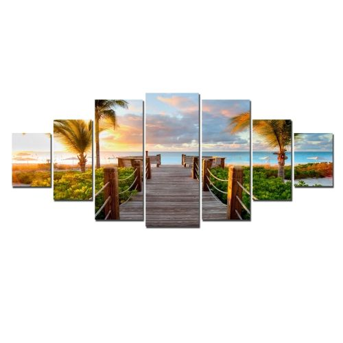 Canvas Wall Art Summer Beach, Glowing in the dark, Set of 7, 100 x 240 cm (1 panel 40 x 100 cm, 2 panels 35 x 90 cm, 2 panels 30 x 60 cm, 2 panels 30 x 40 cm)