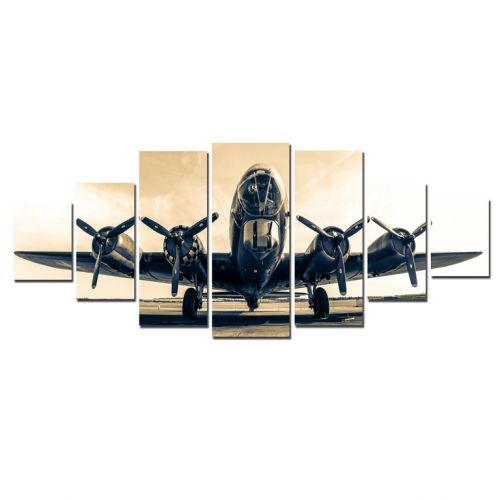 Canvas Wall Art The flying fortress, Glowing in the dark, Set of 7, 100 x 240 cm (1 panel 40 x 100 cm, 2 panels 35 x 90 cm, 2 panels 30 x 60 cm, 2 panels 30 x 40 cm)
