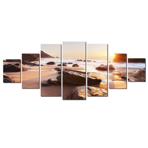 Canvas Wall Art Sunrise at the beach, Glowing in the dark, Set of 7, 100 x 240 cm (1 panel 40 x 100 cm, 2 panels 35 x 90 cm, 2 panels 30 x 60 cm, 2 panels 30 x 40 cm)